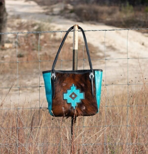 Turquoise and Cowhide Tote